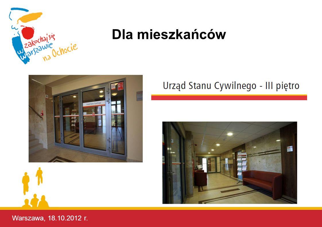 Warszawa, 18.10.2012 r. Dla mieszkańców Warszawa, 17.10.2012 r.