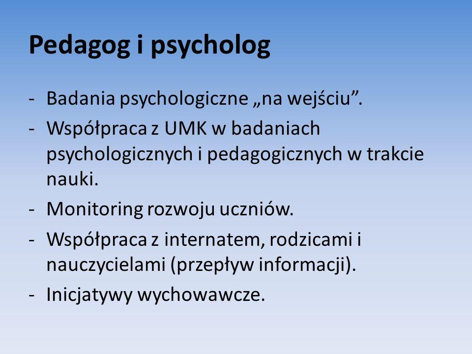 """Pedagog i psycholog Badania psychologiczne """"na wejściu ."""