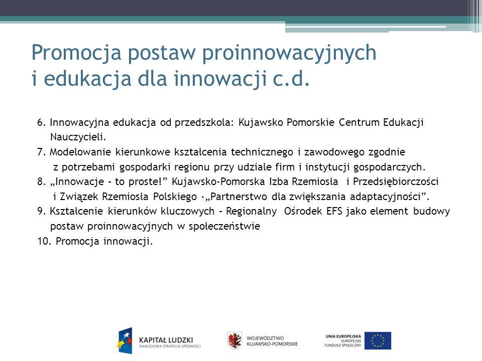 Promocja postaw proinnowacyjnych i edukacja dla innowacji c.d.