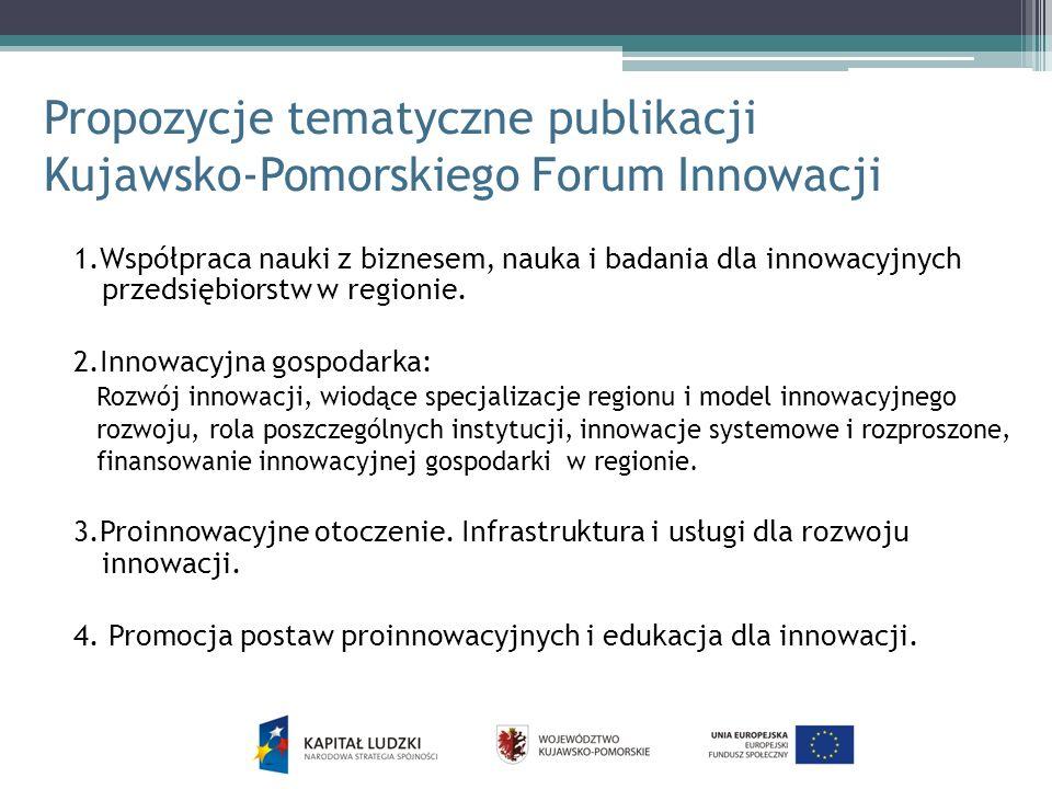 Propozycje tematyczne publikacji Kujawsko-Pomorskiego Forum Innowacji
