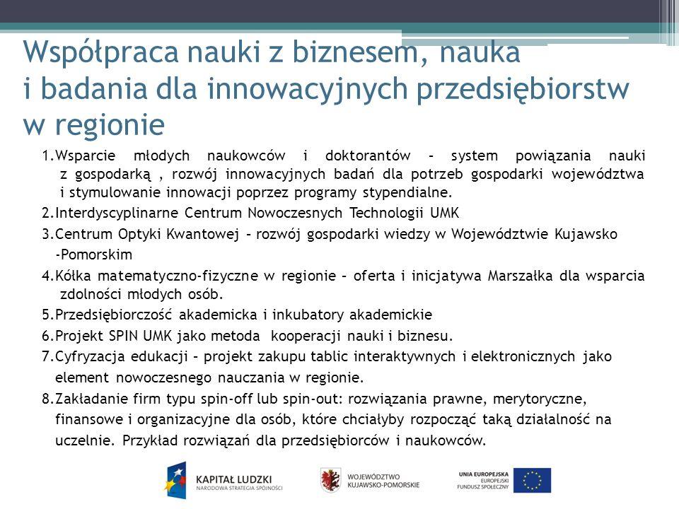 Współpraca nauki z biznesem, nauka i badania dla innowacyjnych przedsiębiorstw w regionie