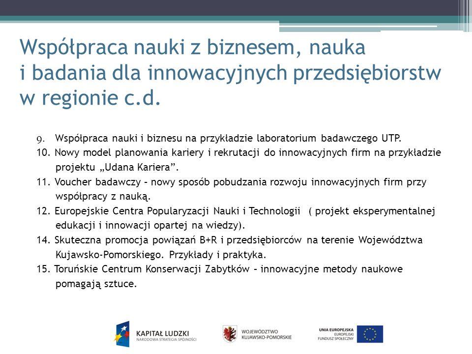 Współpraca nauki z biznesem, nauka i badania dla innowacyjnych przedsiębiorstw w regionie c.d.