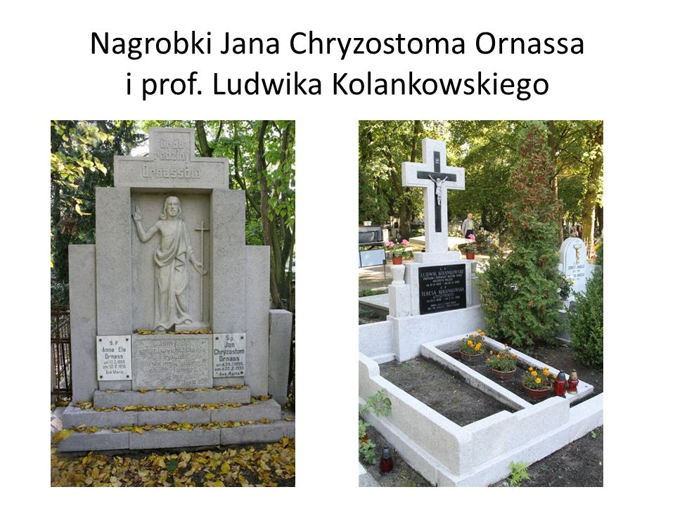 Nagrobki Jana Chryzostoma Ornassa i prof. Ludwika Kolankowskiego