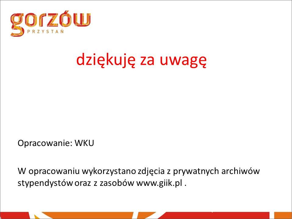dziękuję za uwagę Opracowanie: WKU W opracowaniu wykorzystano zdjęcia z prywatnych archiwów stypendystów oraz z zasobów www.giik.pl .