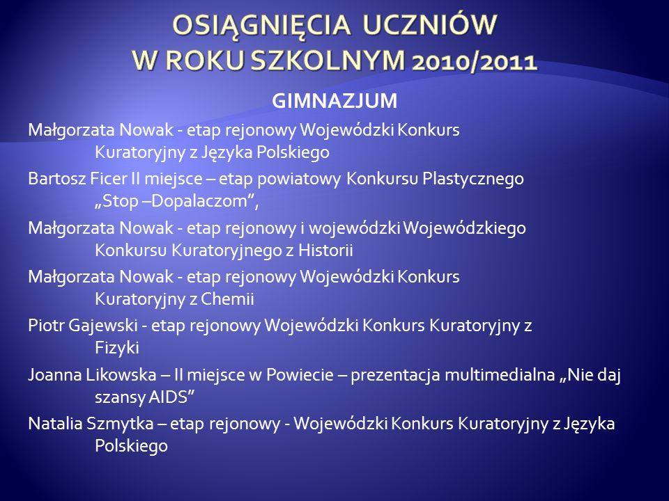 OSIĄGNIĘCIA UCZNIÓW W ROKU SZKOLNYM 2010/2011