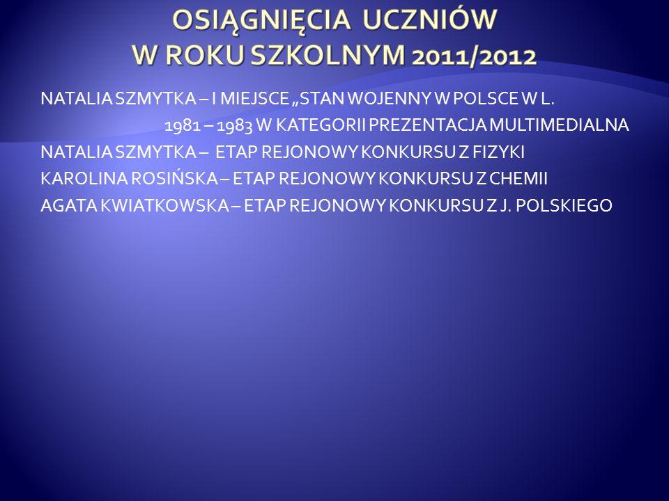 OSIĄGNIĘCIA UCZNIÓW W ROKU SZKOLNYM 2011/2012