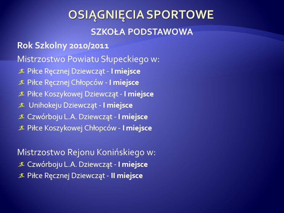 OSIĄGNIĘCIA SPORTOWE SZKOŁA PODSTAWOWA Rok Szkolny 2010/2011