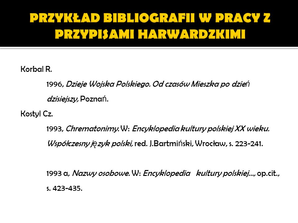 PRZYKŁAD BIBLIOGRAFII W PRACY Z PRZYPISAMI HARWARDZKIMI