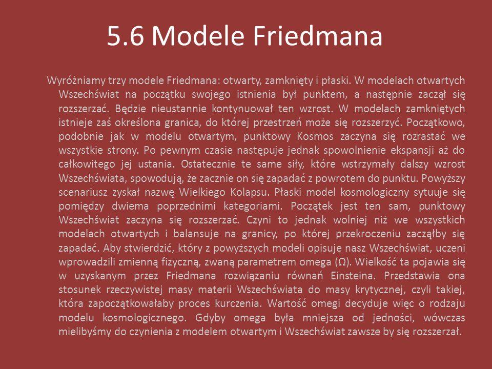 5.6 Modele Friedmana