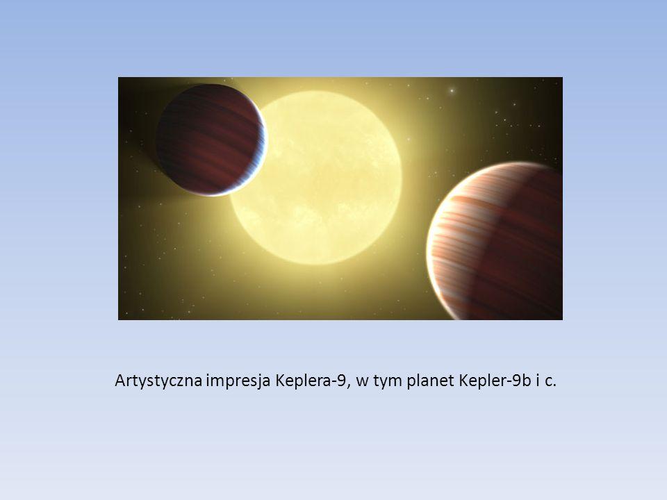Artystyczna impresja Keplera-9, w tym planet Kepler-9b i c.