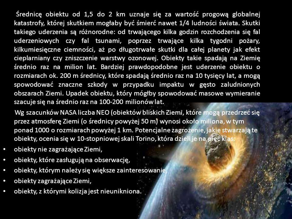 Średnicę obiektu od 1,5 do 2 km uznaje się za wartość progową globalnej katastrofy, której skutkiem mogłaby być śmierć nawet 1/4 ludności świata. Skutki takiego uderzenia są różnorodne: od trwającego kilka godzin rozchodzenia się fal uderzeniowych czy fal tsunami, poprzez trwające kilka tygodni pożary, kilkumiesięczne ciemności, aż po długotrwałe skutki dla całej planety jak efekt cieplarniany czy zniszczenie warstwy ozonowej. Obiekty takie spadają na Ziemię średnio raz na milion lat. Bardziej prawdopodobne jest uderzenie obiektu o rozmiarach ok. 200 m średnicy, które spadają średnio raz na 10 tysięcy lat, a mogą spowodować znaczne szkody w przypadku impaktu w gęsto zaludnionych obszarach Ziemi. Upadek obiektu, który mógłby spowodować masowe wymieranie szacuje się na średnio raz na 100-200 milionów lat.