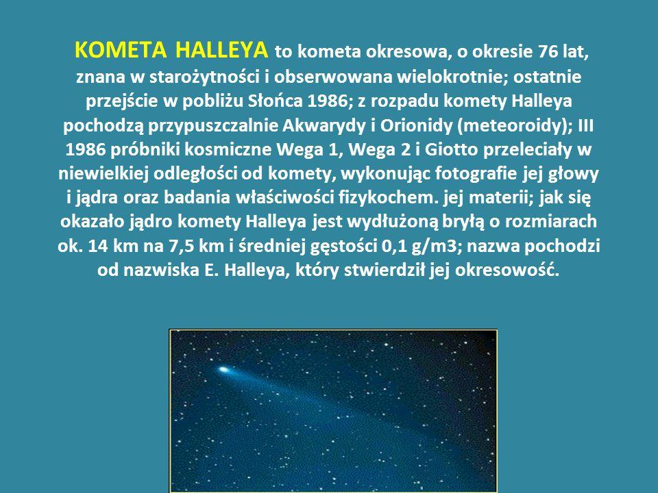 KOMETA HALLEYA to kometa okresowa, o okresie 76 lat, znana w starożytności i obserwowana wielokrotnie; ostatnie przejście w pobliżu Słońca 1986; z rozpadu komety Halleya pochodzą przypuszczalnie Akwarydy i Orionidy (meteoroidy); III 1986 próbniki kosmiczne Wega 1, Wega 2 i Giotto przeleciały w niewielkiej odległości od komety, wykonując fotografie jej głowy i jądra oraz badania właściwości fizykochem.