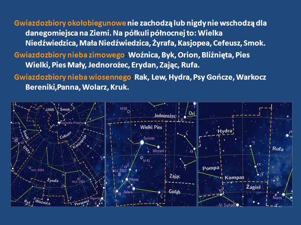 Gwiazdozbiory okołobiegunowe nie zachodzą lub nigdy nie wschodzą dla danegomiejsca na Ziemi. Na półkuli północnej to: Wielka Niedźwiedzica, Mała Niedźwiedzica, Żyrafa, Kasjopea, Cefeusz, Smok.