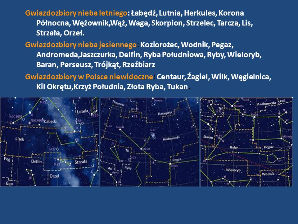 Gwiazdozbiory nieba letniego: Łabędź, Lutnia, Herkules, Korona Północna, Wężownik,Wąż, Waga, Skorpion, Strzelec, Tarcza, Lis, Strzała, Orzeł.