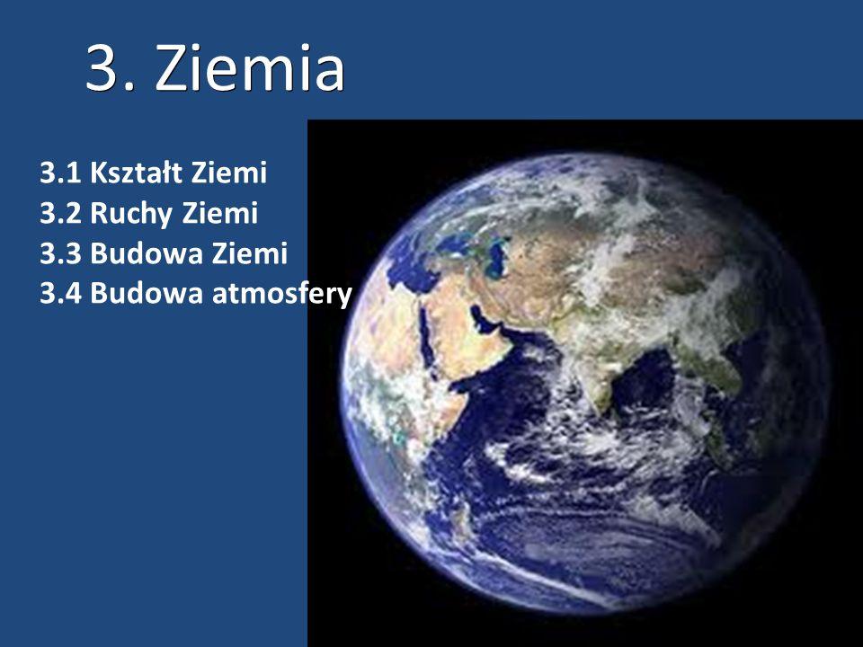 3. Ziemia 3.1 Kształt Ziemi 3.2 Ruchy Ziemi 3.3 Budowa Ziemi