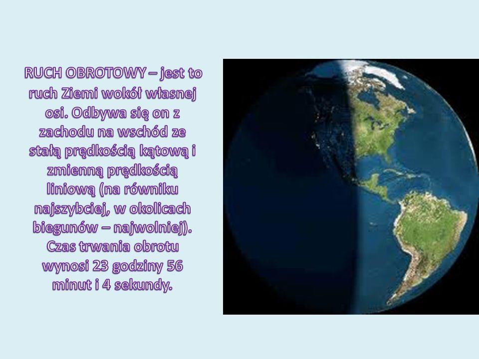 RUCH OBROTOWY – jest to ruch Ziemi wokół własnej osi