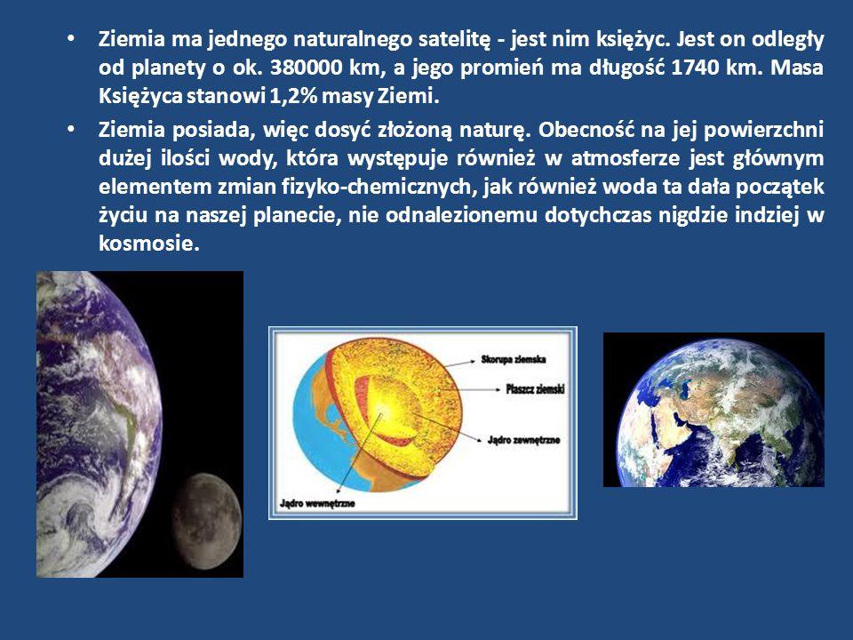 Ziemia ma jednego naturalnego satelitę - jest nim księżyc