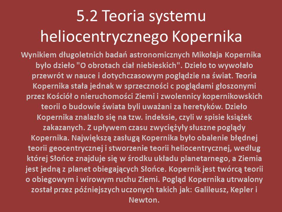 5.2 Teoria systemu heliocentrycznego Kopernika