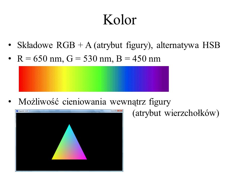 Kolor Składowe RGB + A (atrybut figury), alternatywa HSB