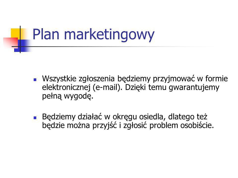 Plan marketingowy Wszystkie zgłoszenia będziemy przyjmować w formie elektronicznej (e-mail). Dzięki temu gwarantujemy pełną wygodę.