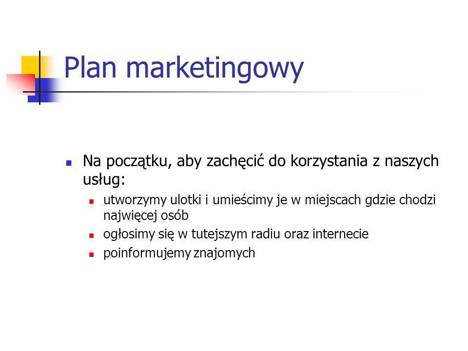 Plan marketingowy Na początku, aby zachęcić do korzystania z naszych usług: utworzymy ulotki i umieścimy je w miejscach gdzie chodzi najwięcej osób.