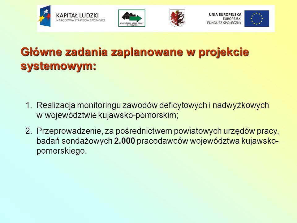 Główne zadania zaplanowane w projekcie systemowym: