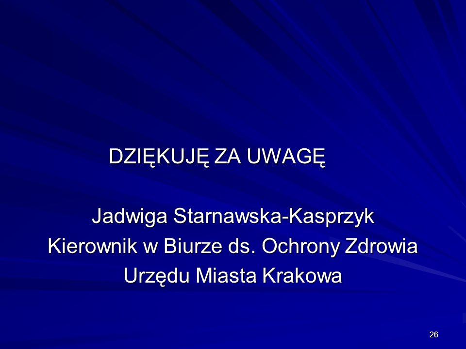 Jadwiga Starnawska-Kasprzyk Kierownik w Biurze ds. Ochrony Zdrowia