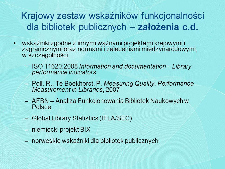 Krajowy zestaw wskaźników funkcjonalności dla bibliotek publicznych – założenia c.d.