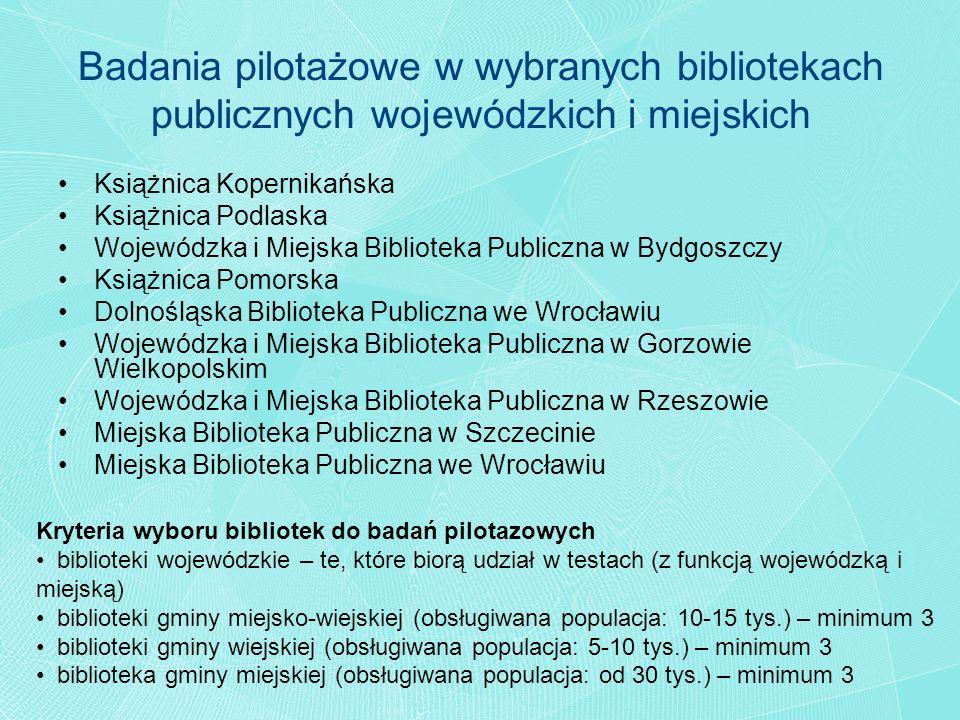 Badania pilotażowe w wybranych bibliotekach publicznych wojewódzkich i miejskich