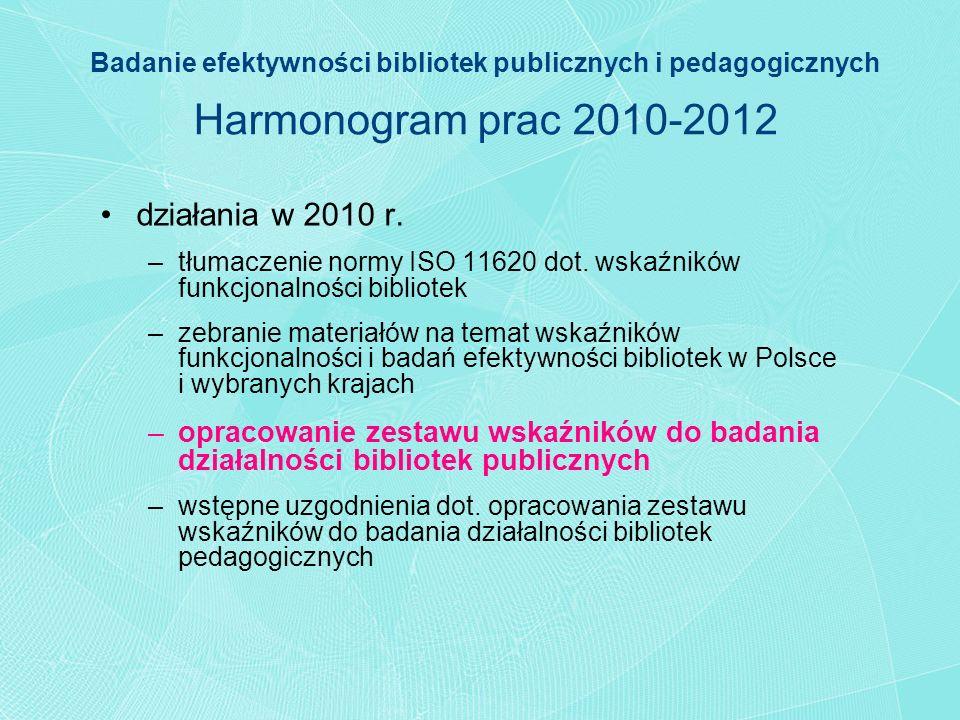 Badanie efektywności bibliotek publicznych i pedagogicznych Harmonogram prac 2010-2012