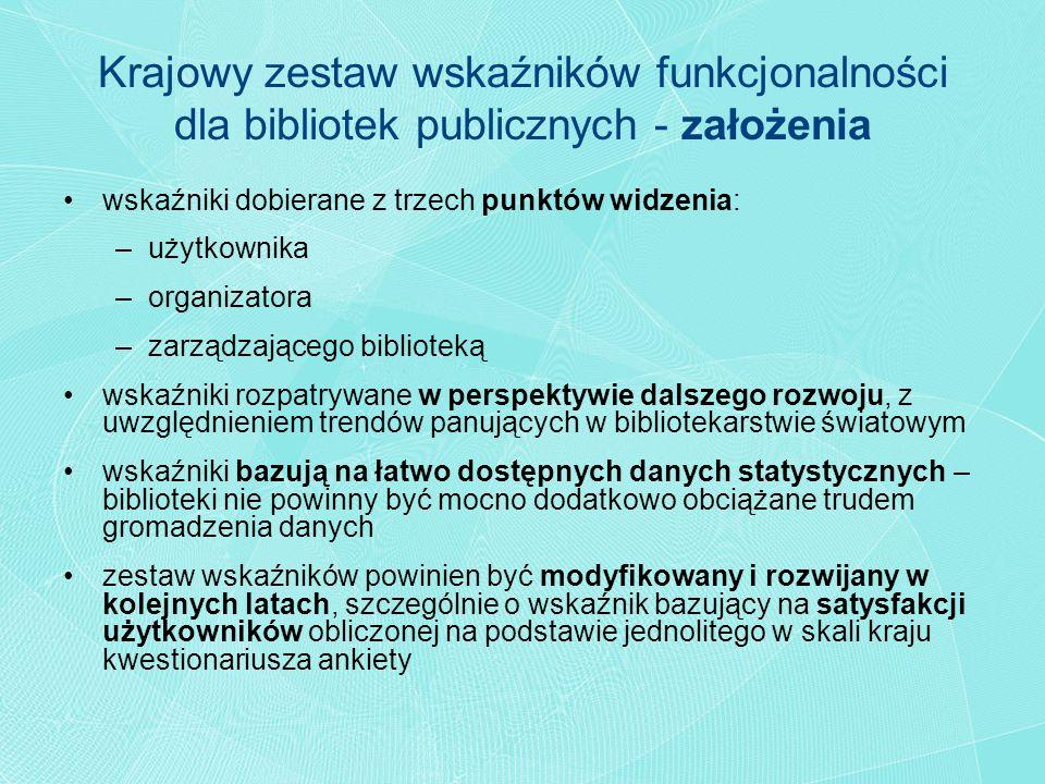 Krajowy zestaw wskaźników funkcjonalności dla bibliotek publicznych - założenia