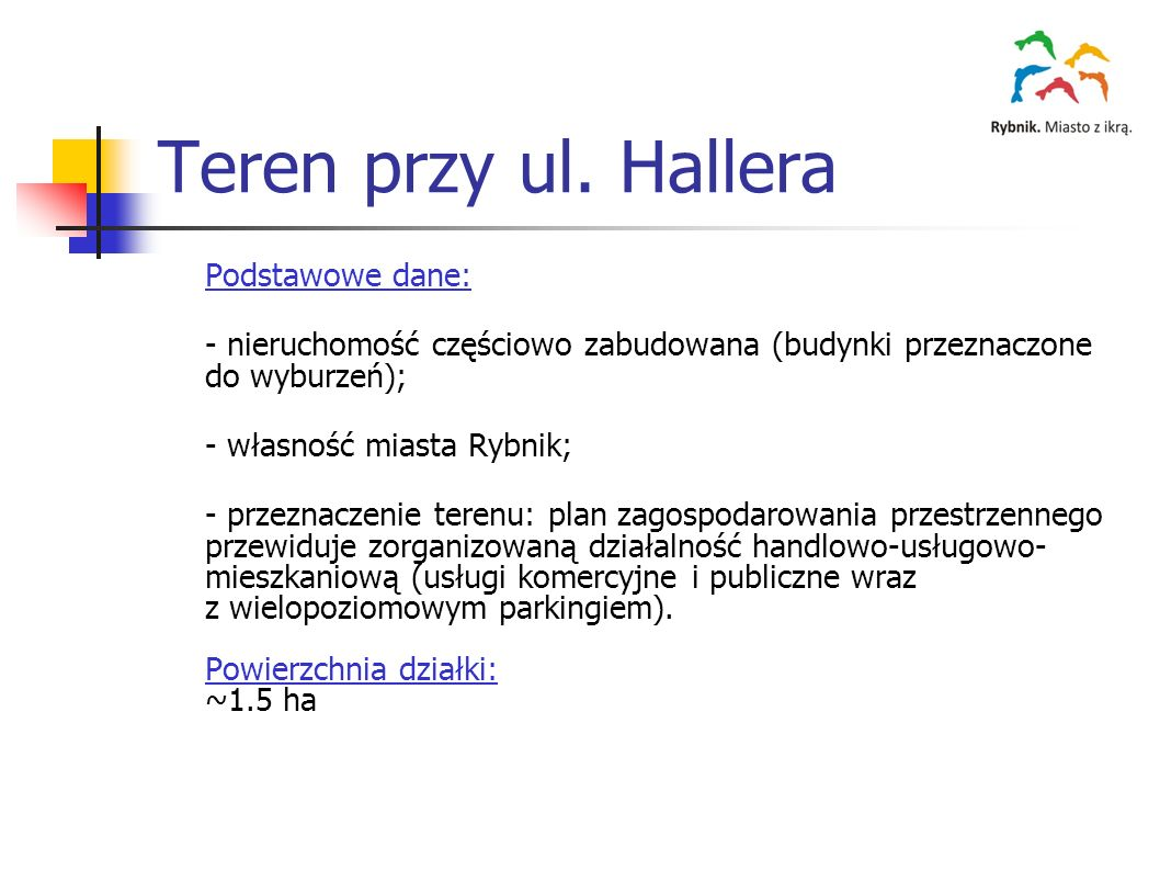 Teren przy ul. Hallera Podstawowe dane: