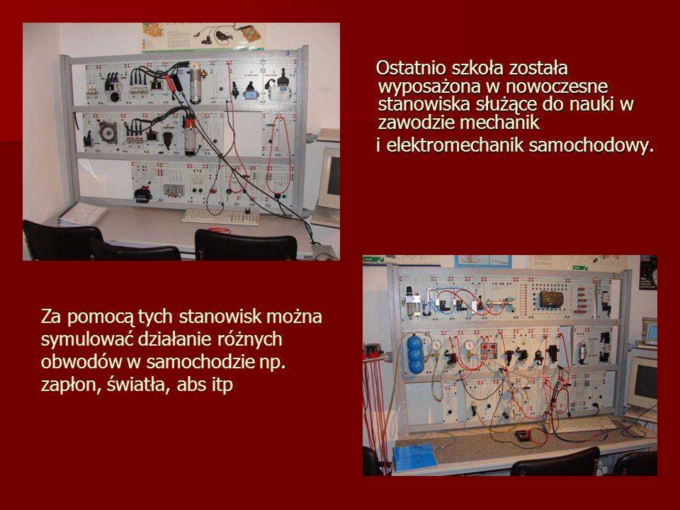 Ostatnio szkoła została wyposażona w nowoczesne stanowiska służące do nauki w zawodzie mechanik