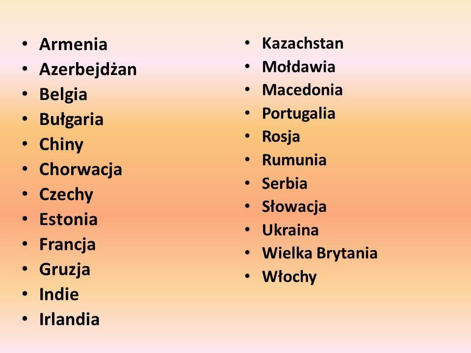 Armenia Azerbejdżan Belgia Bułgaria Chiny Chorwacja Czechy Estonia