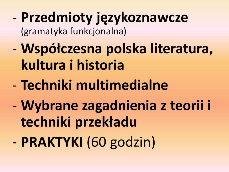 Przedmioty językoznawcze (gramatyka funkcjonalna)