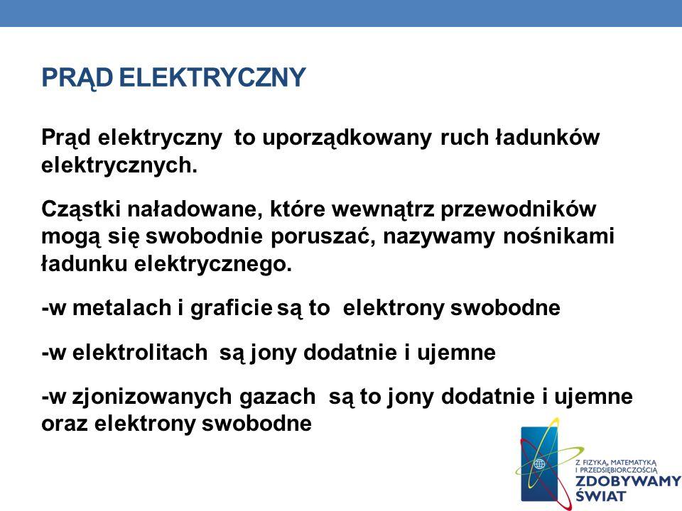 Prąd elektryczny Prąd elektryczny to uporządkowany ruch ładunków elektrycznych.