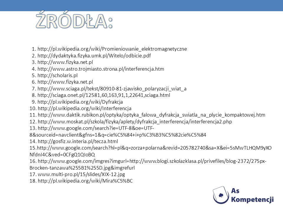 ŹRÓDŁA: 1. http://pl.wikipedia.org/wiki/Promieniowanie_elektromagnetyczne 2. http://dydaktyka.fizyka.umk.pl/Witelo/odbicie.pdf.