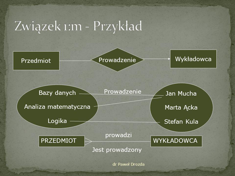 Związek 1:m - Przykład Prowadzenie Wykładowca Przedmiot Jan Mucha