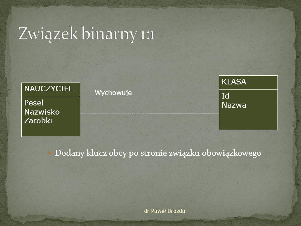 Związek binarny 1:1 Dodany klucz obcy po stronie związku obowiązkowego