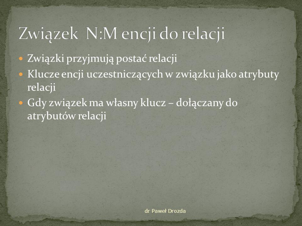 Związek N:M encji do relacji