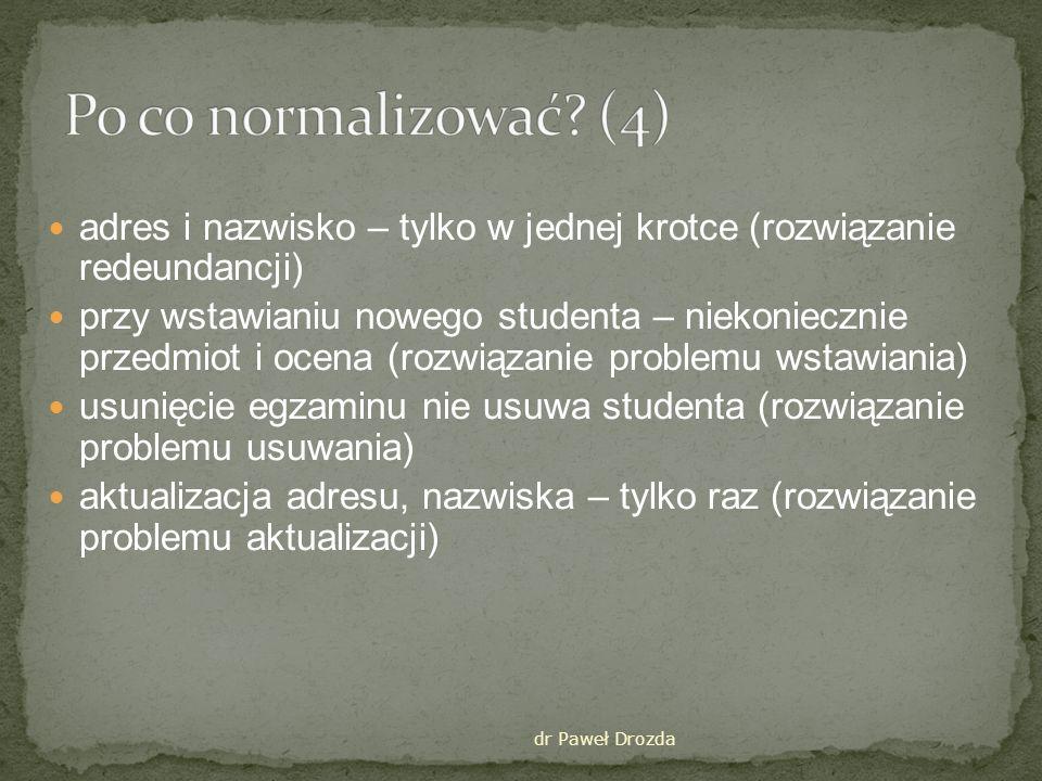 Po co normalizować (4) adres i nazwisko – tylko w jednej krotce (rozwiązanie redeundancji)