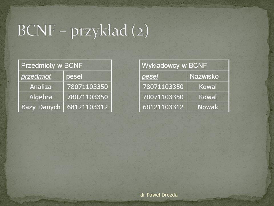 BCNF – przykład (2) Przedmioty w BCNF przedmiot pesel
