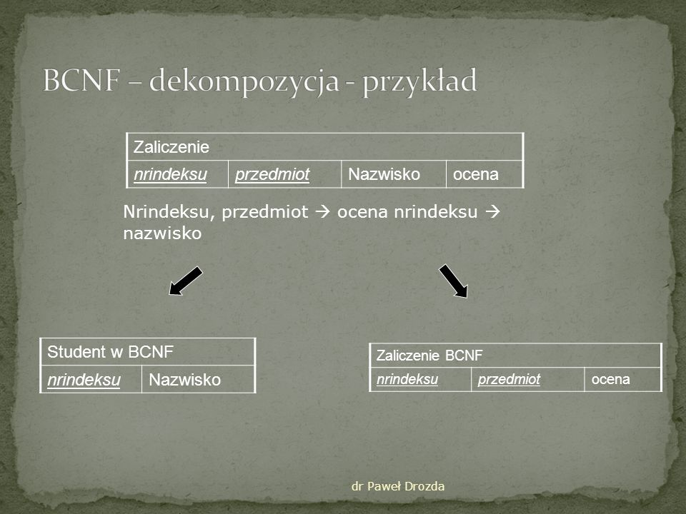 BCNF – dekompozycja - przykład