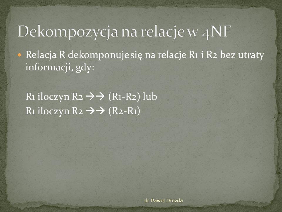 Dekompozycja na relacje w 4NF
