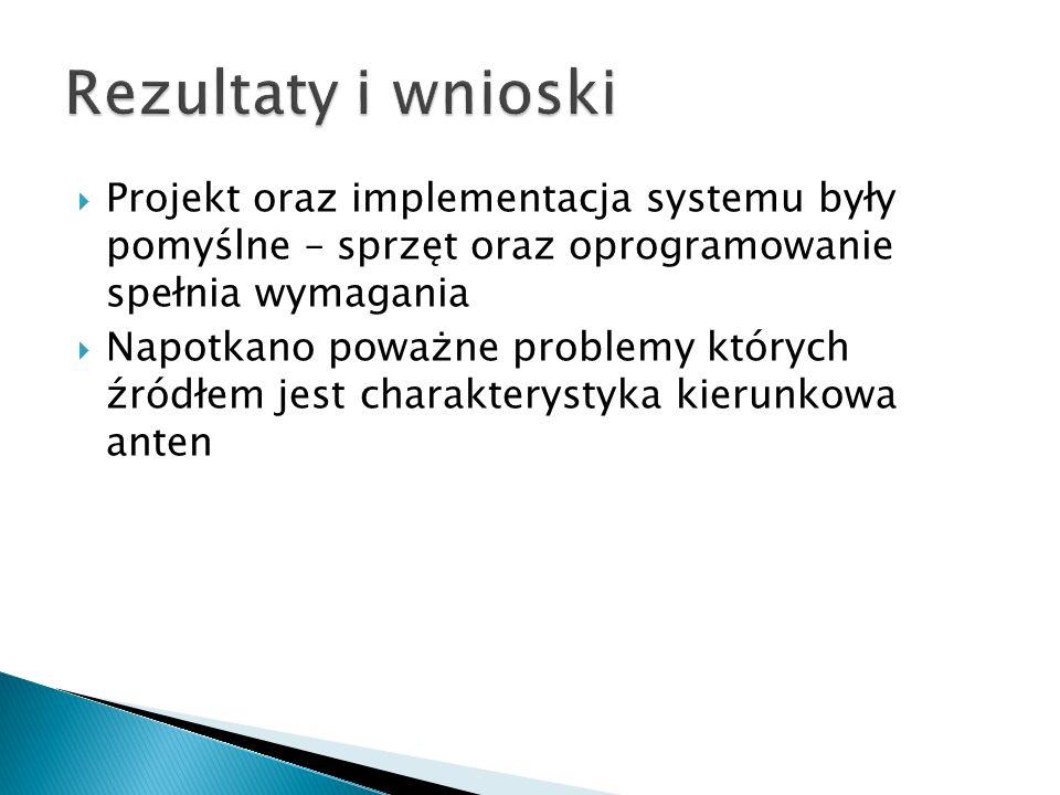 Rezultaty i wnioski Projekt oraz implementacja systemu były pomyślne – sprzęt oraz oprogramowanie spełnia wymagania.