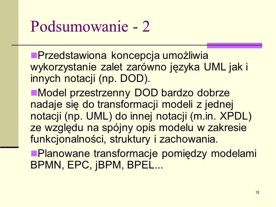 Podsumowanie - 2 Przedstawiona koncepcja umożliwia wykorzystanie zalet zarówno języka UML jak i innych notacji (np. DOD).