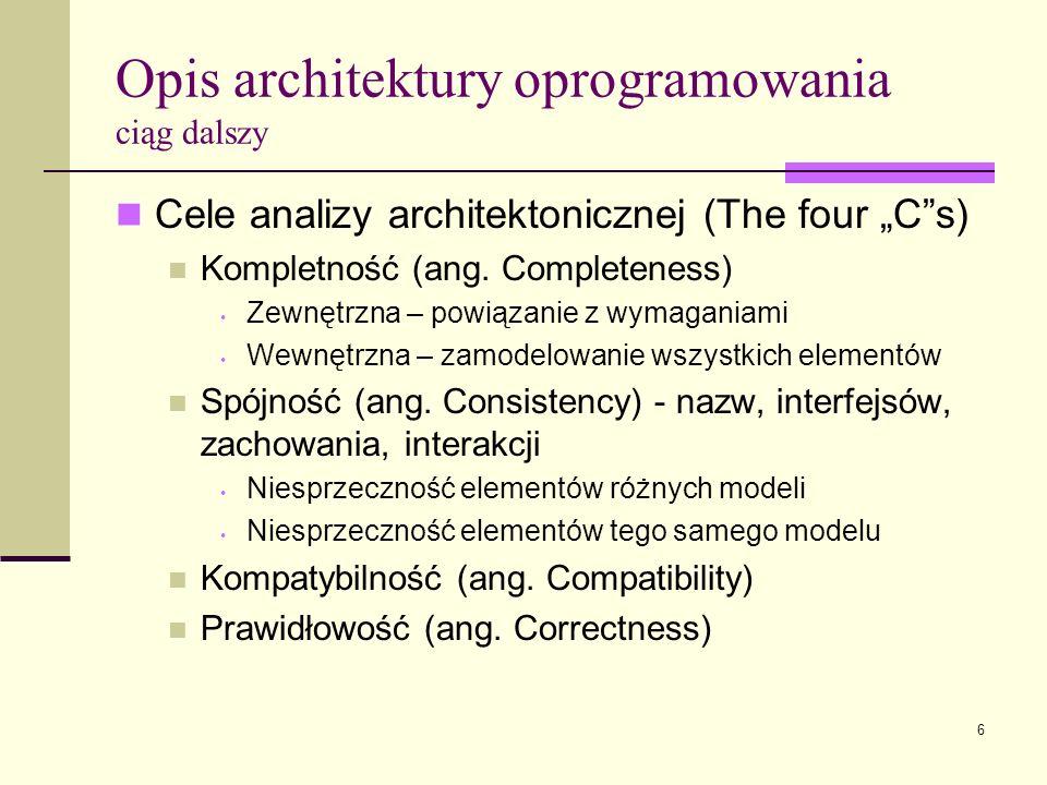 Opis architektury oprogramowania ciąg dalszy