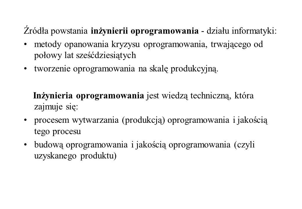 Źródła powstania inżynierii oprogramowania - działu informatyki: