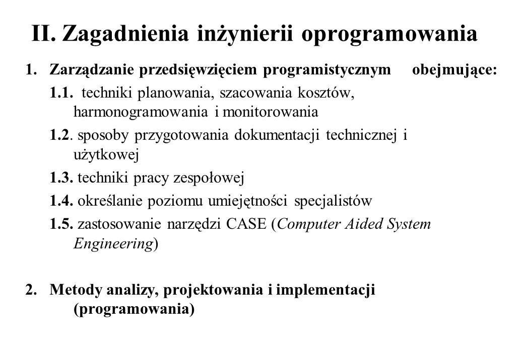 II. Zagadnienia inżynierii oprogramowania