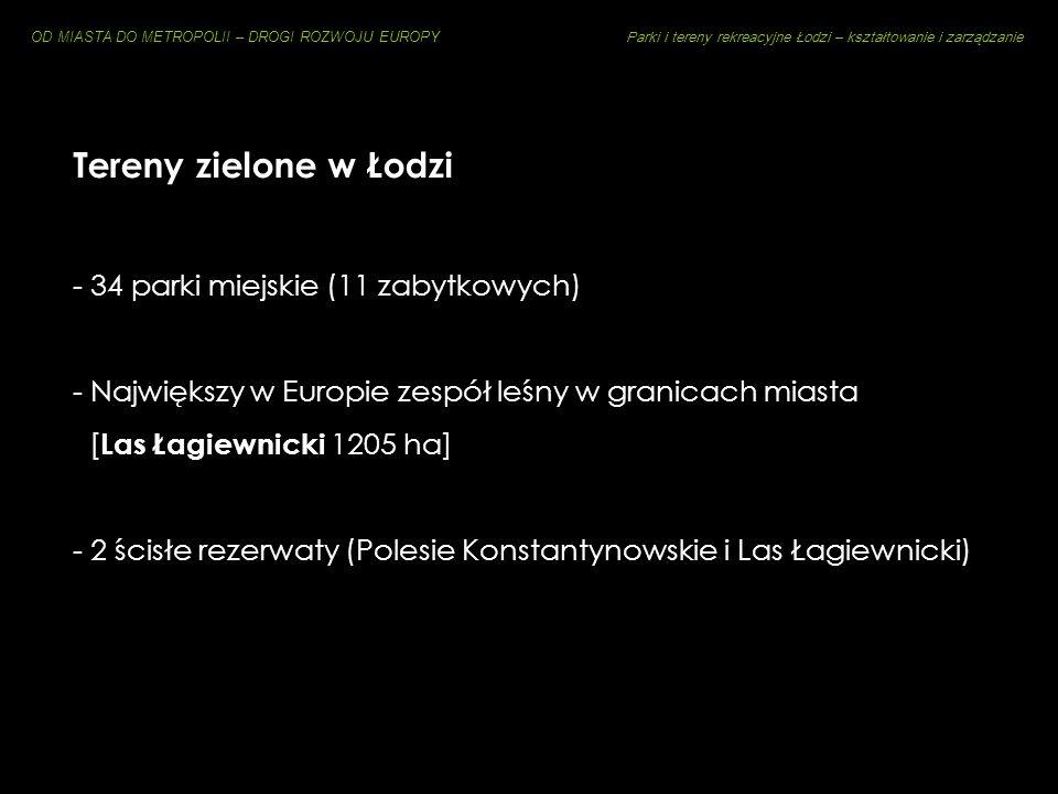 Tereny zielone w Łodzi - 34 parki miejskie (11 zabytkowych)